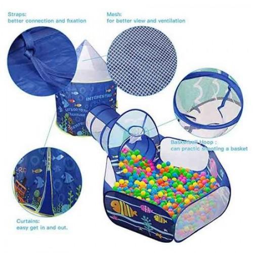 Loc de joaca 3 in 1 Aquarium: Cort, tunel si piscina