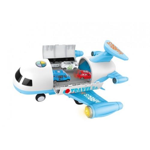 Avion cargo bleu cu 6 masinute
