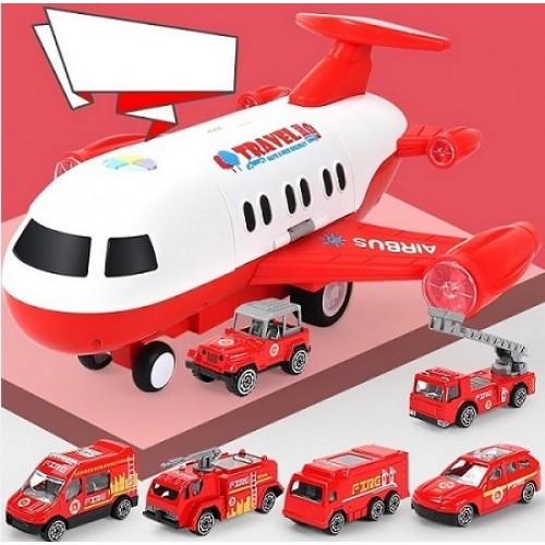 Avion cargo rosu cu 6 masinute