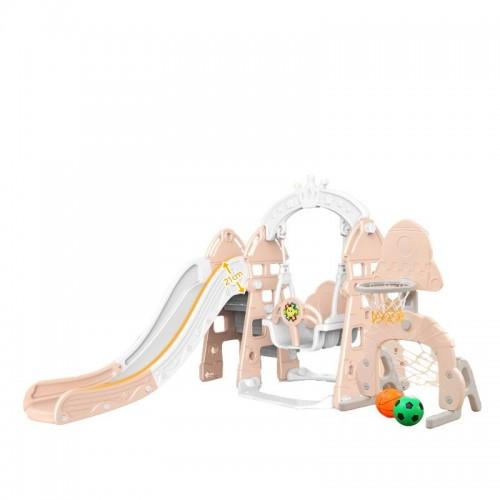 Centru de joaca cu leagan,tobogan si cos de baschet pentru fetite