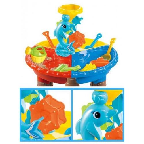 Masuta de joaca pentru apa si nisip rotunda - Delfin