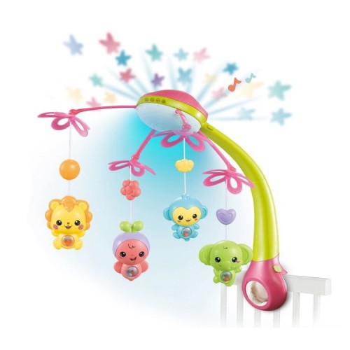Carusel Patut Interactiv Animalutele Vesele Pink