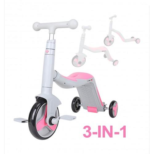 Trotineta  Axel, 3 in 1, Gri/Roz, transformabila in tricicleta si balance bike