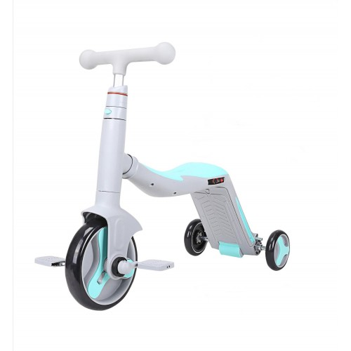 Trotineta  Axel, 3 in 1, Gri/Bleu, transformabila in tricicleta si balance bike
