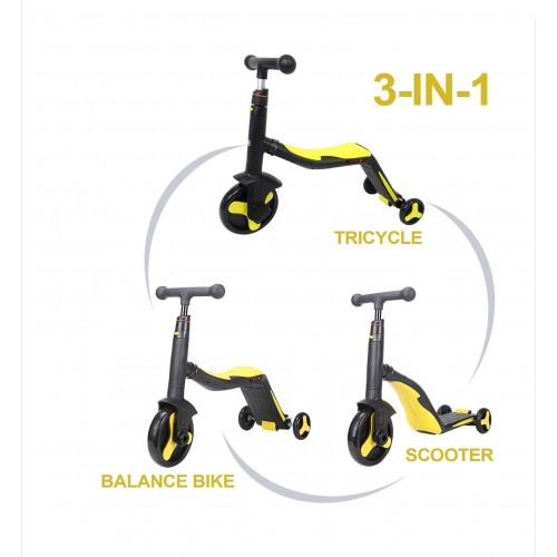 Trotineta  Axel, 3 in 1, Negru/Galben, transformabila in tricicleta si balance bike