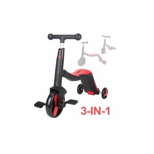 Trotineta  Axel, 3 in 1, Negru/Rosu, transformabila in tricicleta si balance bike