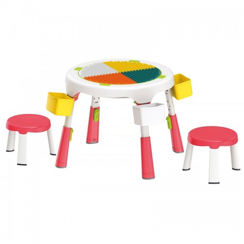 Masa compatibila Lego plianta cu 2 scaune incluse roz