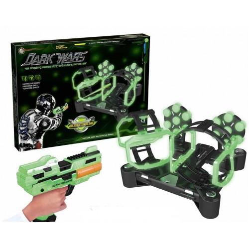 Set pistol de jucarie cu tinta rotativa si gloante din burete Dark Wars