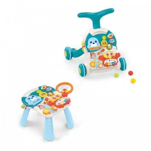 Premergator copii 3 in 1 si masuta  de joaca Baby Go Bleu