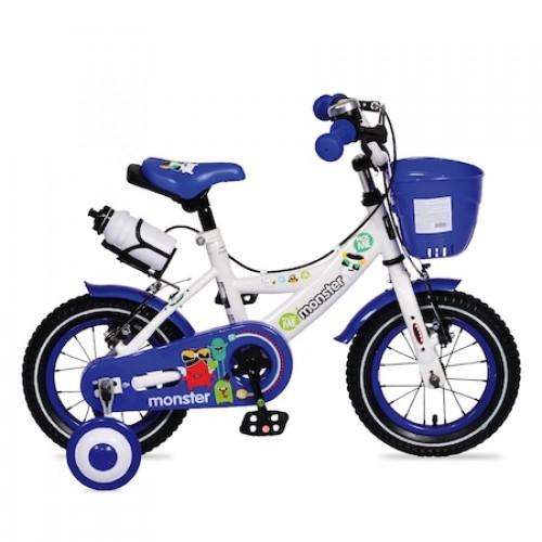 Bicicleta pentru baieti cu roti ajutatoare si cosulet 12 inch Blue 1281