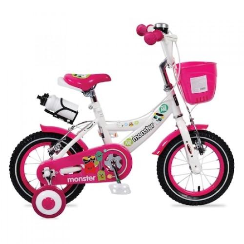 Bicicleta pentru baieti cu roti ajutatoare si cosulet 12 inch Pink 1281