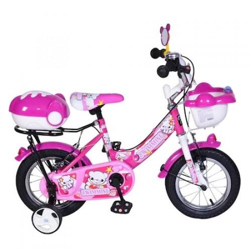 Bicicleta pentru copii cu roti ajutatoare 12 inch Pink 1282
