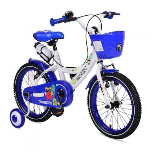 Bicicleta pentru baieti cu roti ajutatoare Little Monster Blue 20 inch 2081