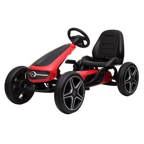 Kart cu pedale si roti din cauciuc EVA Mercedes-Benz red