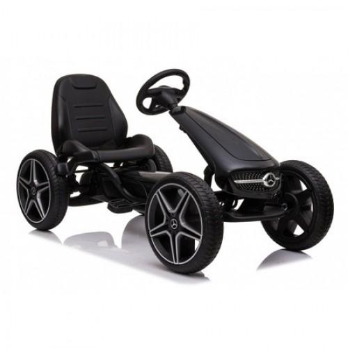 Kart cu pedale si roti din cauciuc EVA Mercedes-Benz Black
