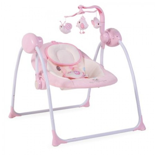 Leagan electric cu conectare la priza Baby Swing+ Pink