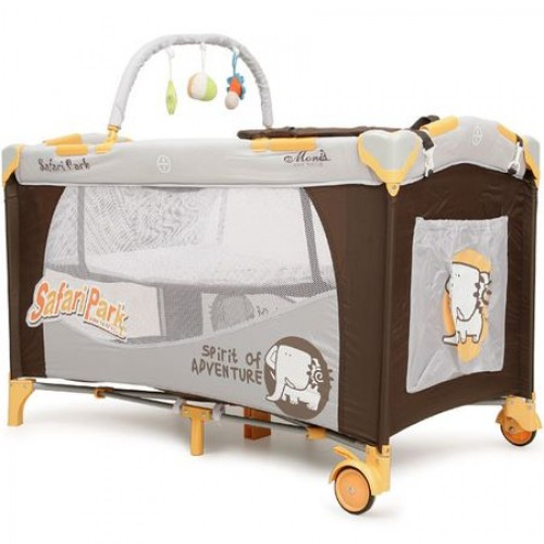 Patut pliabil cu doua nivele Happy Baby Safari