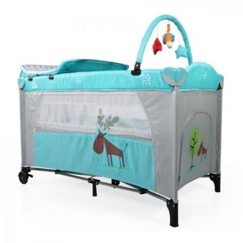 Patut pliabil cu doua nivele Happy Baby Tuquoise