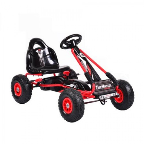 Kart cu pedale pentru copii cu roti gonflabile Top Racer Red