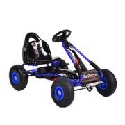 Kart cu pedale pentru copii cu roti gonflabile Top Racer Blue
