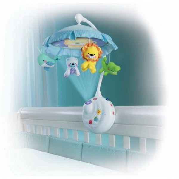 Carusel muzical cu proiector si telecomanda Baby Animals