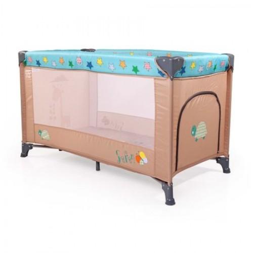Patut pliabil cu doua nivele Happy Baby Safari Blue