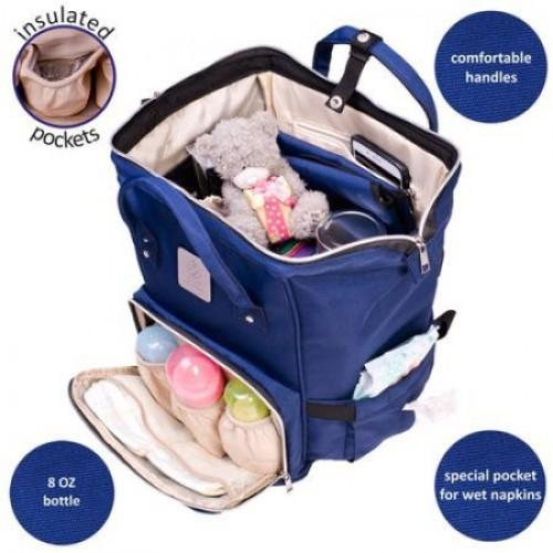 Geanta-Rucsac pentru bebelusi multifunctionala Globe-Trotter Blue