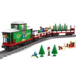 Joc de construit 592 piese Bebeking Christmas Bricks Train