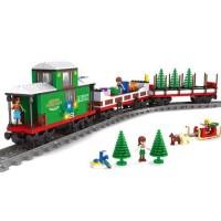 Joc de construit 592 piese Bebeking Christmas Bricks Train