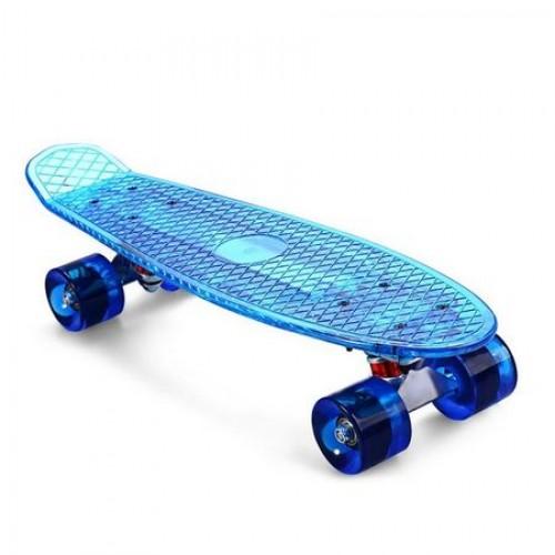 Penny board cu placa si roti cu led DIAMOND albastru