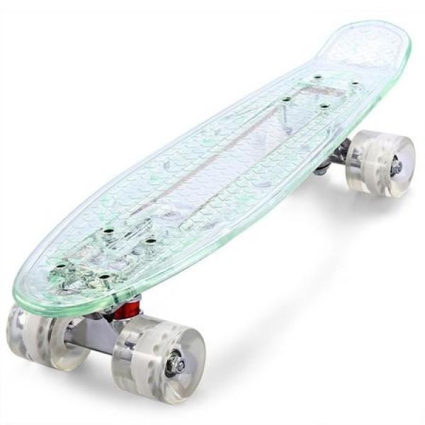 Penny board cu placa si roti cu led DIAMOND transparent
