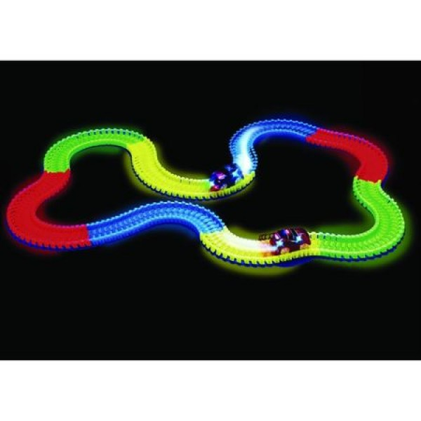 Set masinuta cu pista luminoasa 360 piese